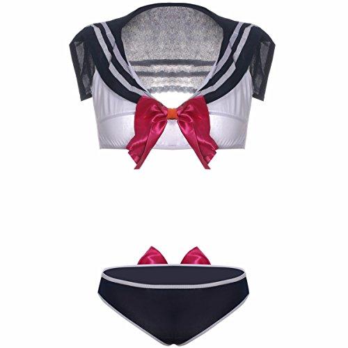 - OYBY Student Clothes Japan and South Korea Cute Split Performance Clothing Sexy Lingerie Pajamas Suit Uniform Temptation (L, Blue)
