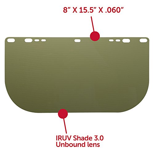 """Jackson Safety F50 Specialty High Impact Face Shield (26262), Polycarbonate, 8"""" x 15.5"""" x 0.06"""", IRUV 3.0, Face Protection, Unbound, 12 Shields / Case by Jackson Safety (Image #3)"""