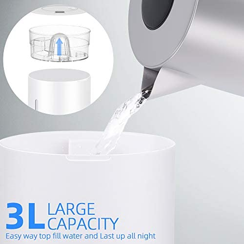 Humidificateur d'Air Bébé Maison Chambre 3L Humidificateur Ultrasonique Silencieux ELEHOT (Blanc)