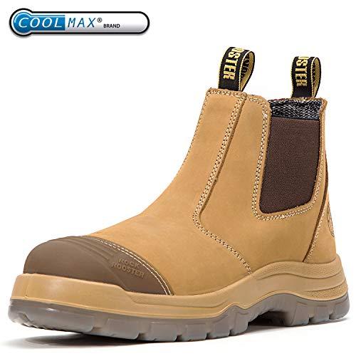ROCKROOSTER Men's Work Boots, Steel Toe, Safety Water Resistant Leather, Women Shoes, EEE-Wide (AK222, US 8)