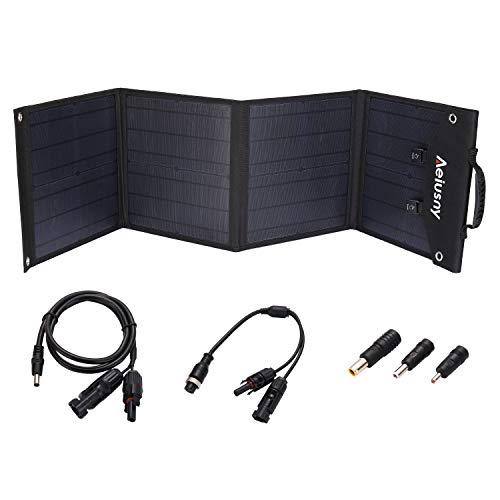 Aeiusny Solar Panel Foldable 60W Portable Solar Charger for Suaoki/Jackery/Webetop Portable Generator/Goal Zero Yeti Power Station/USB Devices, QC3.0 USB Ports