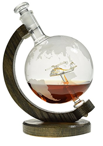 Helicopter within Etched Globe Liquor Decanter - Scotch Whiskey Decanter - 1000ml Glass Decanter for Alcohol - Vodka, Bourbon, Rum, Wine, Tequila - (Helicopter by Prestige Decanters) by Prestige Decanters