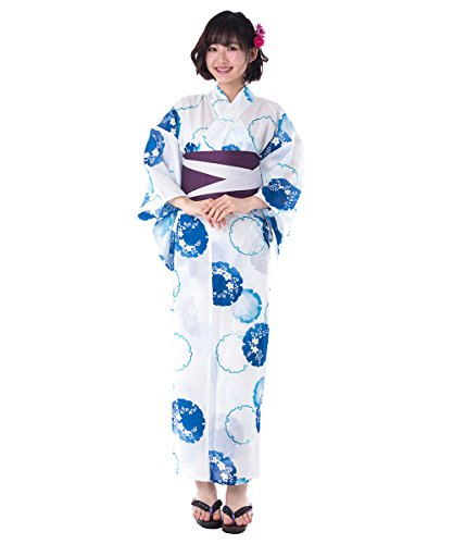 KYOETSU Women's Elegant Yukata Kimono 3 Piece-Set fy27 (Yukata/Obi/Getas) (FG-9(Obi:Deep Purple/White)) by KYOETSU