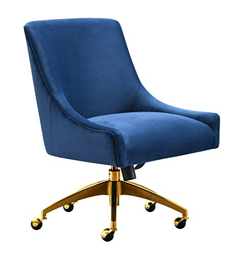TOV Furniture TOV-H7233 Beatrix Modern Upholstered Home Office Swivel Chair, Navy