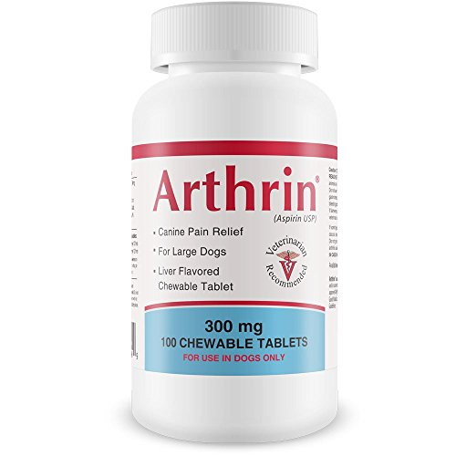 Healthy Pets Arthrin Canine Aspirin 300 mg for Larger Dogs - Prevent Gastrointestinal Upset - Joint Support Supplement - Liver Flavored - 100 Chewable Tablets ()