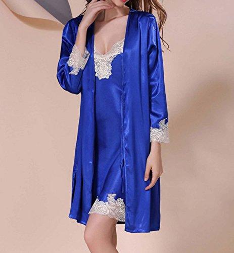 La Sra Temperamento Del Verano Del Cordón Atractivo De Dos Piezas Pijamas Camisones Blue