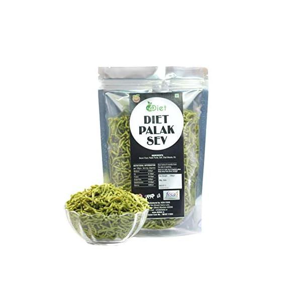 D4Diet Diet Palak Sev -Namkeen/Diet Snacks/Healthy Snacks,  400 g
