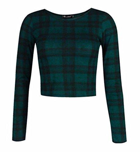 Elum® - Camiseta de manga larga - para mujer Verde Del Tartán