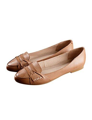 Youlee Mujeres Hecho a mano Cabeza Redonda Cuero Zapatos Planos Albaricoque