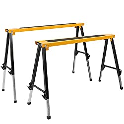2 Pack Adjustable Saw Horse Wclamps & Handle Heavy Duty Folding Portable Sawhorse 330lbs Weight Capacity Each