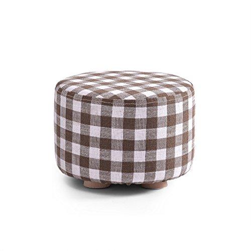 SJB Round Ottoman Footstool, 4 Leg Support, Short Legs, Short Legs, 11.4′′7.8′′ (Color : Checker)