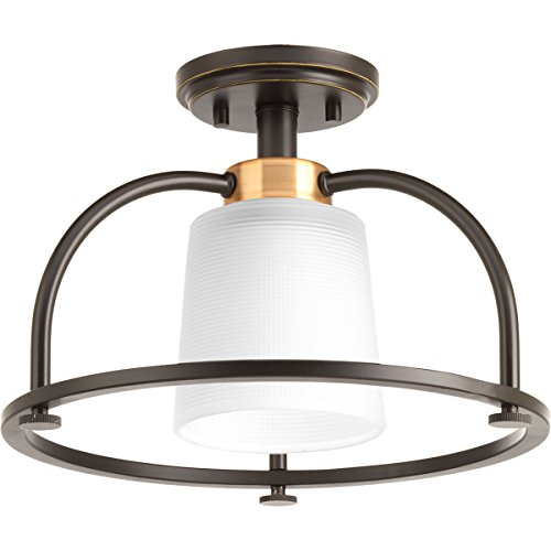 Progress Lighting P350032-020 West Village One-Light Semi-Flush Convertible, Antique Bronze 1 Light Convertible Flush
