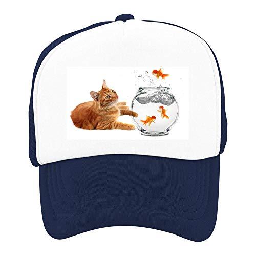 Kids Girls Boys Mesh Cap Trucker Hats Cat Fish Adjustable Hat Navy by EThomasine