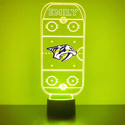 Nashville Handmade Acrylic Personalized Predators Hockey Rink Hockey Rink LED Night Light - Remote, 16 Color Option, Great Personalized Gift, Engraved