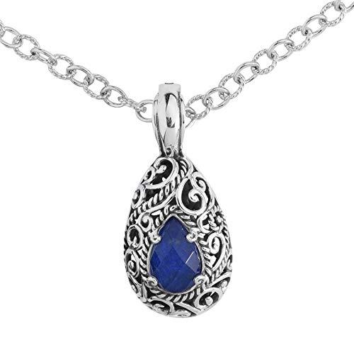 Lapis Enhancer Pendant - Carolyn Pollack Sterling Silver Blue Lapis Lazuli Doublet Pendant Enhancer Necklace 18