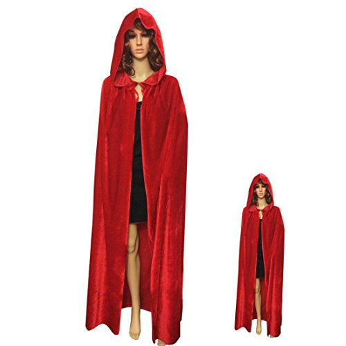City Party Halloween Costumes (ECITY Unisex adult Costume Velvet Hooded Cloak Role Play Halloween Xmas Party Cape (Medium (51.2 inch=130cm), Red))