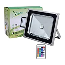 LedMart 50wRGB 50W Waterproof Outdoor Security LED Flood Light Spotlight High Powered RGB Color Change(16 Different Color Tones) with Remote Control AC85V-265V 950WFL by LedMart