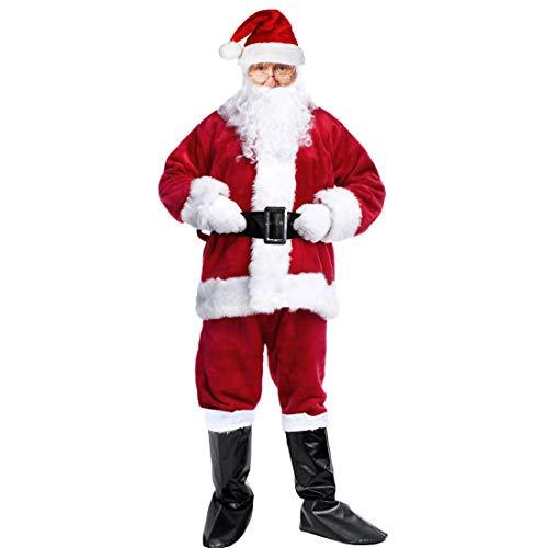 Santa Suit Costume Adult Men Santa Costume Christmas Santa Claus Costume Deluxe Plush Men's Santa Costume (Burgundy1) for $<!--$40.99-->