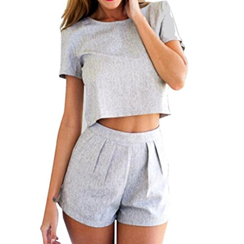 JUNKE Women's O-Neck Two Pieces Set Playsuit Dress Set Blouse Crop Top+short (Crop Set)
