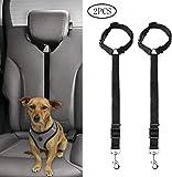 SUMAJU Dog Seat Belt,2 Pack Pet Car Seatbelt Headrest Restraint Adjustable Safety Leash Leads Dog Vehicle Seat Belt for Travel Daily Use(Black)
