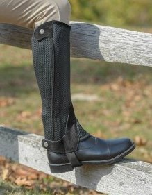 Shires Adult Mesh Half Chaps, Black - Extra - Chaps Half Adults