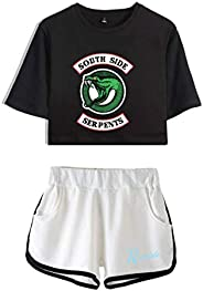 ZooYi NONEM Riverdale Crop Top Tee-Teen Girls T-Shirts and Shorts Set Summer Casual Colthes Suit Sportwear