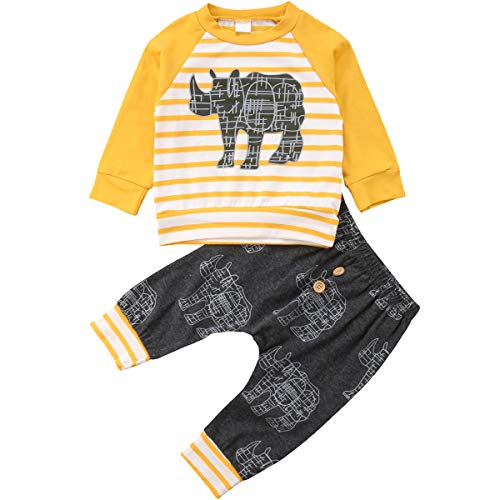 Baby Boys 2 Pieces Rhino Fall Clothing Set T-Shirt Pants Outfits (Yellow, 12-18 Months)]()