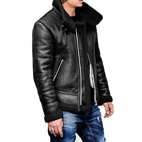 Mens Pea Coat Slim Fit.Men Autumn Winter Highneck Warm Fur Liner Lapel Leather Zipper Outwear Top Coat (Mens Black Bomber Jacket With Fur Hood)