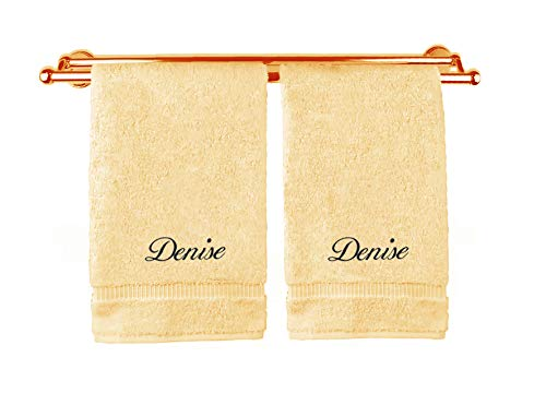 Liberty21 Monogrammed Personalized Name Hand Towels. Custom Embroidered Towels. Set of Two. (Tan)
