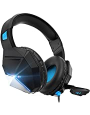 Gaming Headset, Gaming Headphones with Microphone,for PS4,PS5, PC, Xbox One,Switch -Surround Sound Headset with Microphone,Noise Cancelling,LED,Soft Earmuffs, Kids Headphones (Blue)