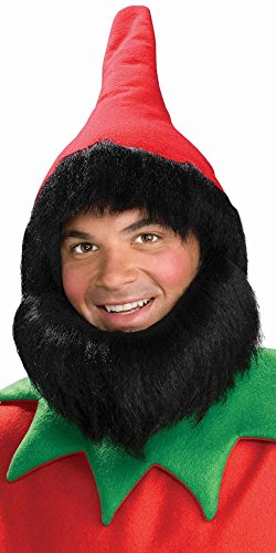 Forum Novelties Men's Elf Hat with Beard, Red, One Size -
