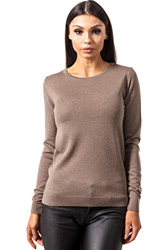 Womens Brown Wool - KNITTONS Women's Merino Wool Classic Lightweight Crew Neck Sweater Pullover (Brown Melange, Large/US 12-14)