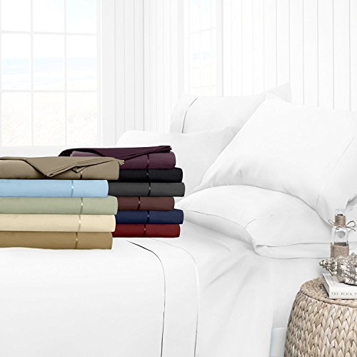 Egyptian Luxury Hotel Collection 4-Piece Bed Sheet Set - Deep Pockets, Wrinkle and Fade Resistant, Hypoallergenic Sheet and Pillow Case Set  - Queen, White - Make Bed Sheets