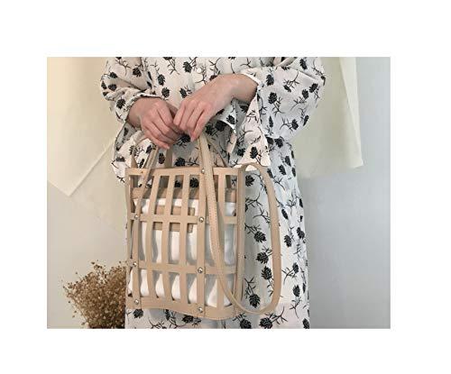 Hollow Bucket bag handbag PU leather shoulder bag Beach Bag Totes Bag,Khaki ()