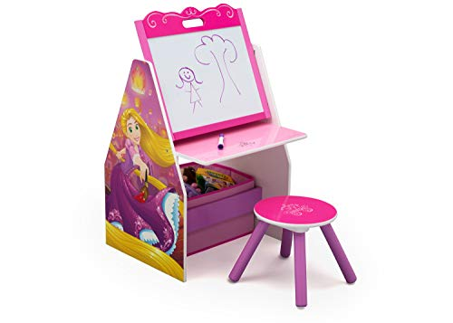 Delta Children Activity Center with Easel Desk, Stool, Toy Organizer, Disney Princess
