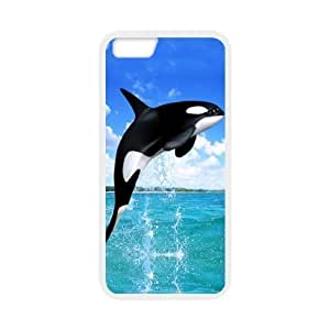 4.7inches Slim And Stylish Killer Whale Orca Pattern iPhone 6 TPU(Laser Technology) Case Cover for White And Black