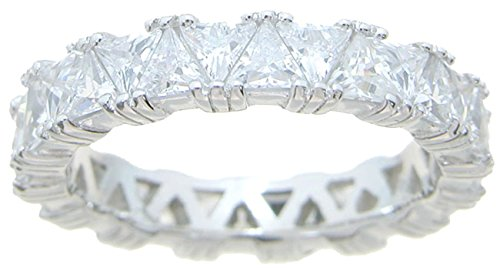 (Trillion Cut CZ Sterling Silver Vintage Wedding Anniversary Band for Women (7))