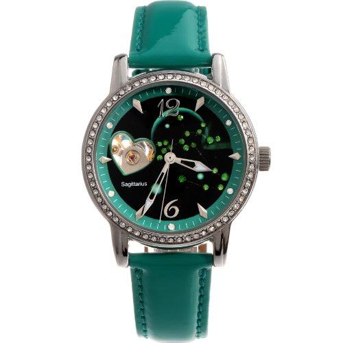 Time100-W80050L09A-Reloj-mecnico-de-horscopos-Sagittarius-para-mujer-de-color-verde
