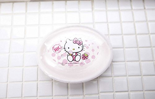 Hello Kitty Oval Soap Dish Holder Case with Clear Cover