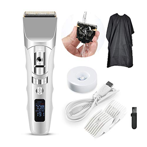 Low Noise Hair Clippers for Men Cordless Hair Trimmer Clippers Set Electric Haircut Kit USB Rechargeable with LED Display Lithium Battery Ceramic Blade