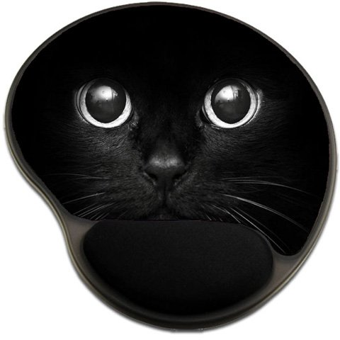 Black Cat Mousepad Base with Wrist Support Mouse Pad Great Gift Idea