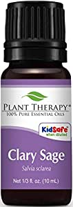 Plant Therapy Clary Sage Essential Oil. 100% Pure, Undiluted, Therapeutic Grade. 10 mL (1/3 Ounce).