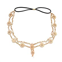 BESTOYARD Bohemian Headbands Chain Women Crystal Pearl Headpiece Headdress