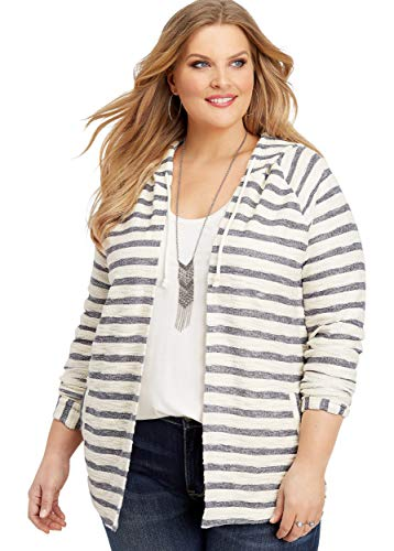 maurices Women's Plus Size Stripe Print Hooded Cardigan 1 Blue Jasmine Combo