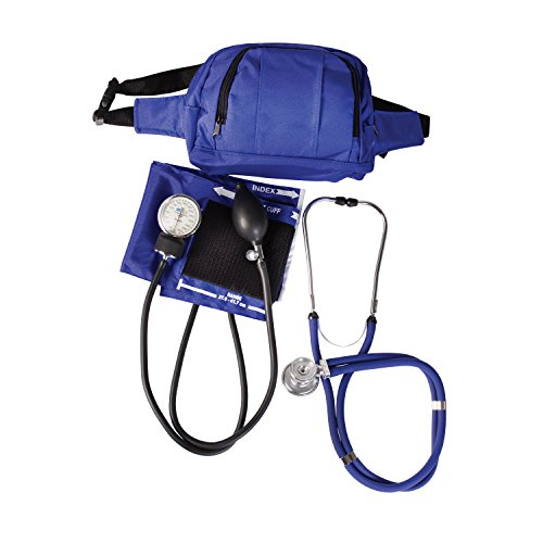 roid Sphygmomanometer Manual Blood Pressure Monitor Fanny Pack Kit with Calibrated Adult Nylon Arm Cuff and Sprague Rappaport Stethoscope, Professional Quality, Royal Blue ()