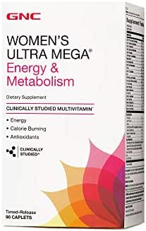 GNC Womens Ultra Mega Energy and Metabolism Multivitamin for Women, 90 Count, for Increased Energy, Metablism, and Calorie Burning