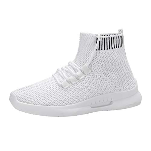 Women's Running Walking Shoes, Student Mesh Breathable Lightweight Sports Casual High Top Ankle Socks Sneakers White