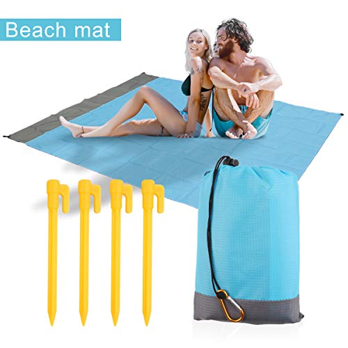 Sand Free Beach Blanket Mat - 79''x57'' Pocket Blanket Waterproof Ground Cover for Travel, Hiking, Camping, Picnic Mat with Corner Pockets Weighable Pockets + 4 Anchor Loops Stakes + Carabiner