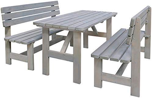 Muebles de Jardín Set 3 Piezas Madera Jardín Asiento Grupo Mesa ...