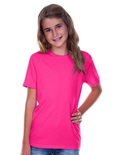 Kavio! Youth Crew Neck Short Sleeve Tee Jersey (Same YJC0263) Hot Pink XL